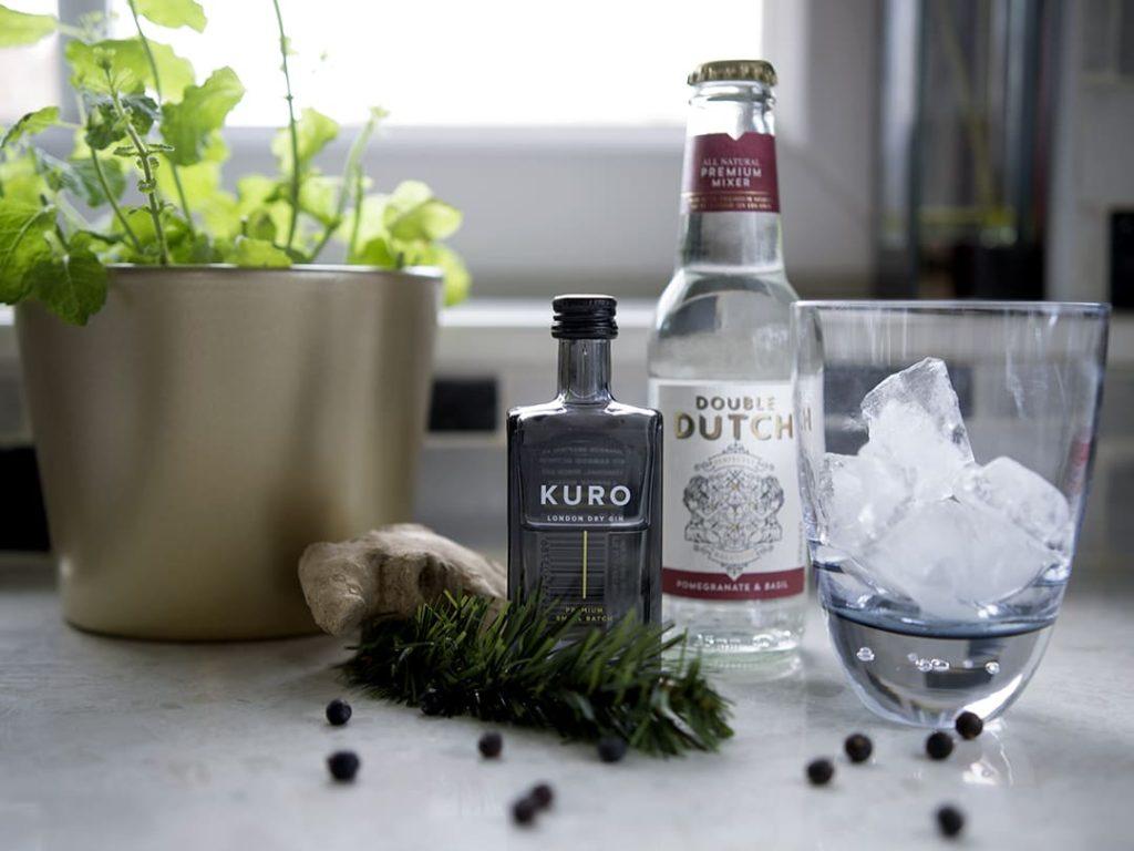 KURO Gin and Double Dutch Pomegranite & Basil Soda