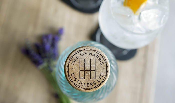 Isle of Harris gin bottle from above, showing bottle stopper