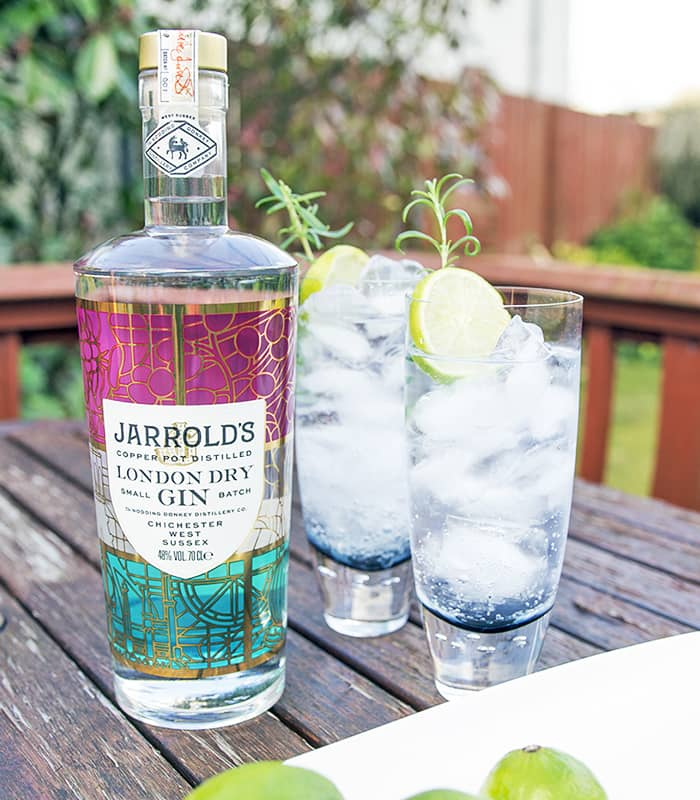 Jarrold's Gin bottle with two G&Ts