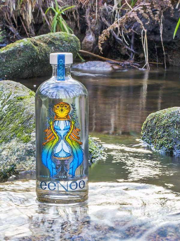 Eenoo Gin bottle sitting in a river