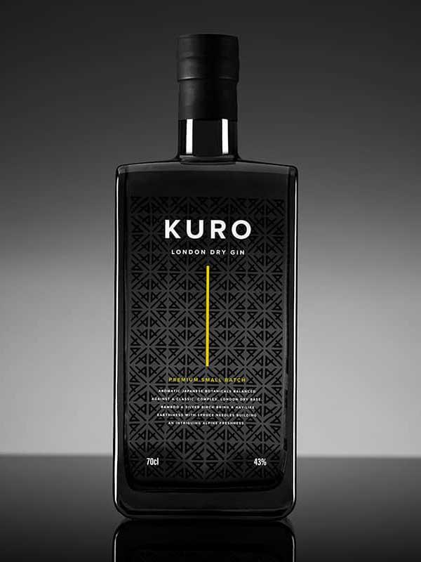 KURO Gin bottle.