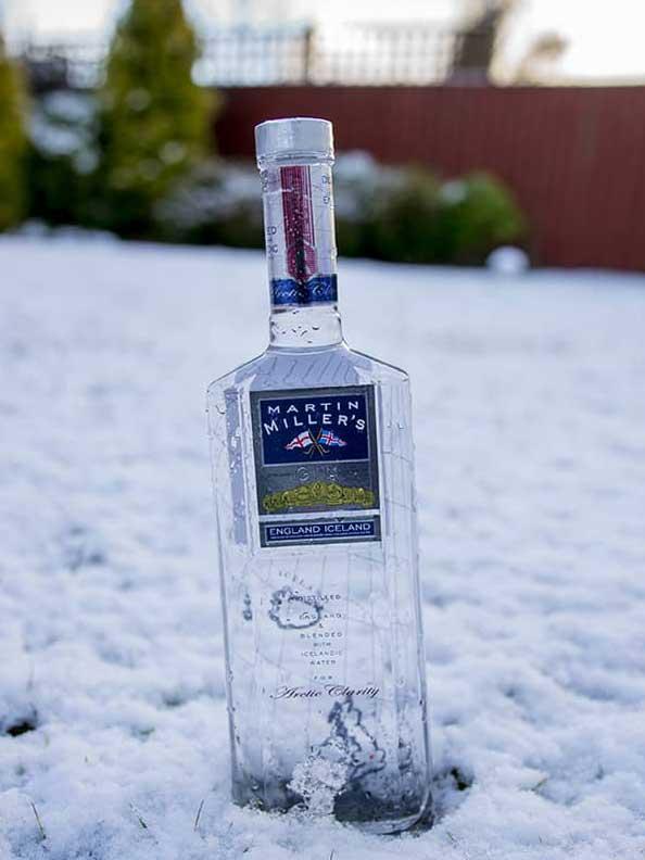 Martin Miller's Gin bottle in the snow.