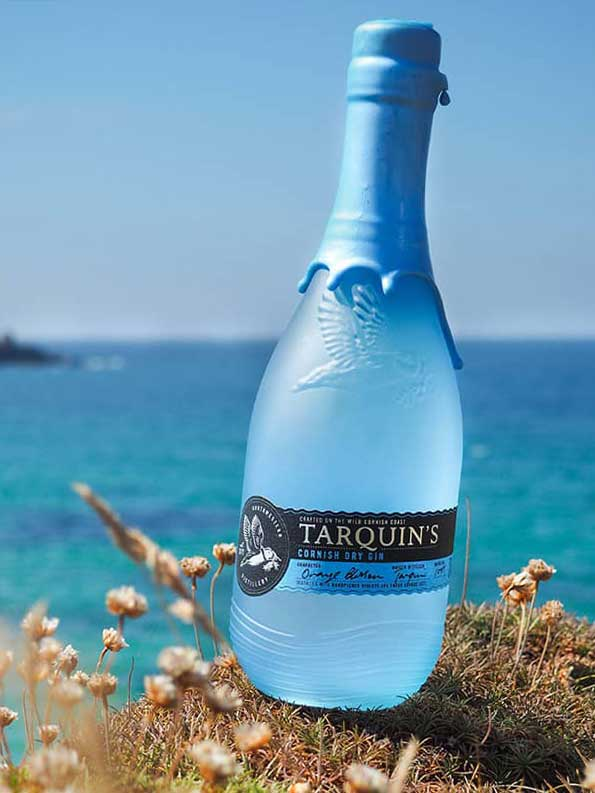 Tarquin's Gin bottle sitting on a rock with the sea in the background.