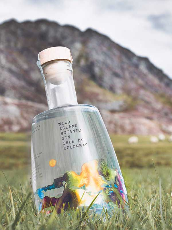 Wild Island Gin bottle with a mountain backdrop.