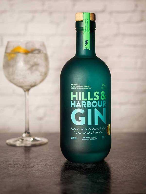 Hills & Harbour Gin bottle.