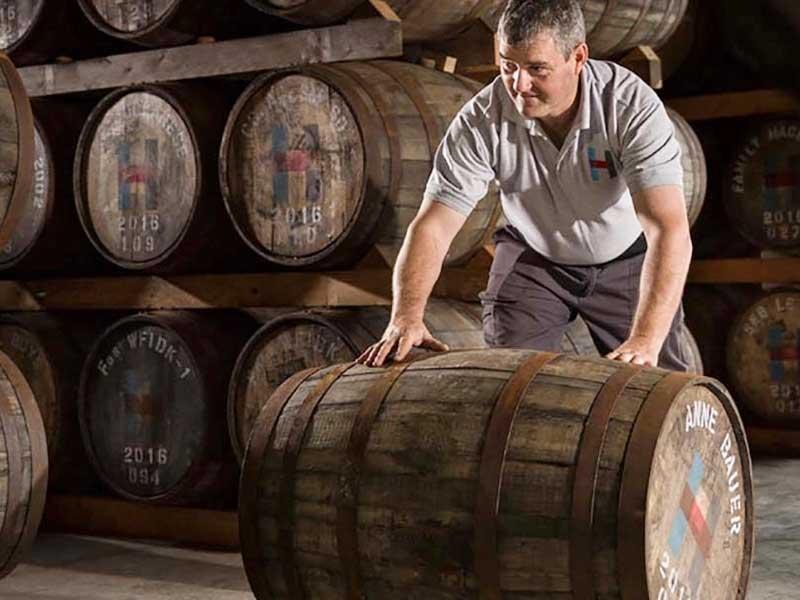 Distillery employee rolling whisky barrell.