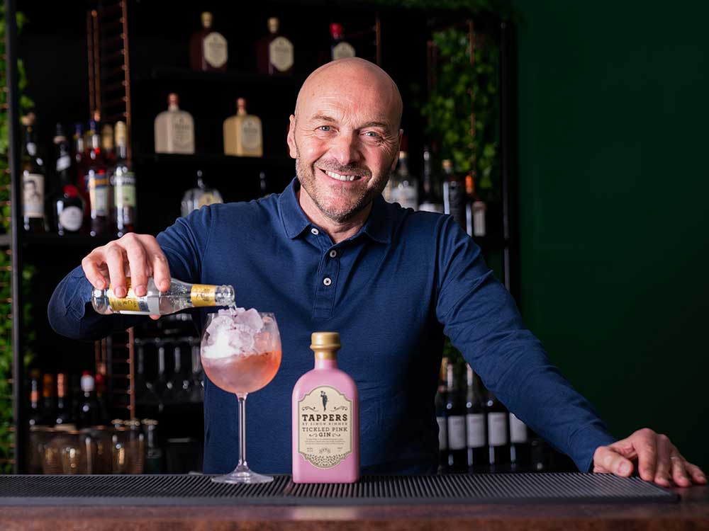 Simon Rimmer with Tappers Tickled Pink Gin.