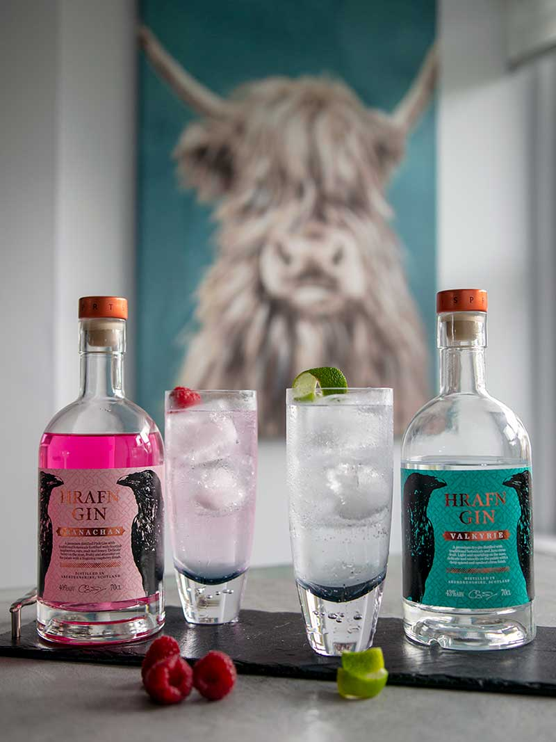 Hrafn Chranachan & Valkyrie Gin bottles and gin and tonics.